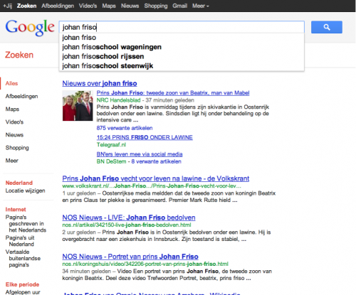 Google Suggesties 'johan friso' 18:15u