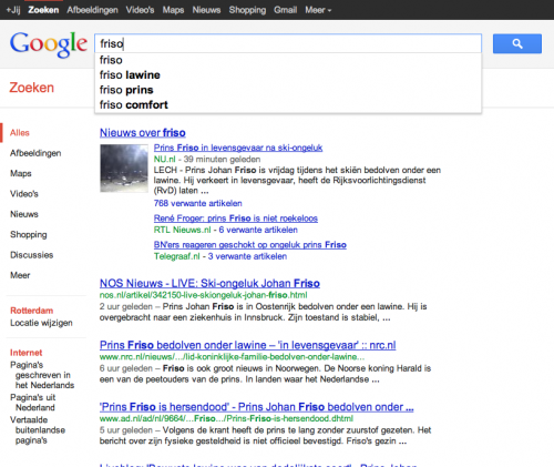 Google Suggesties 'friso' 22:13u