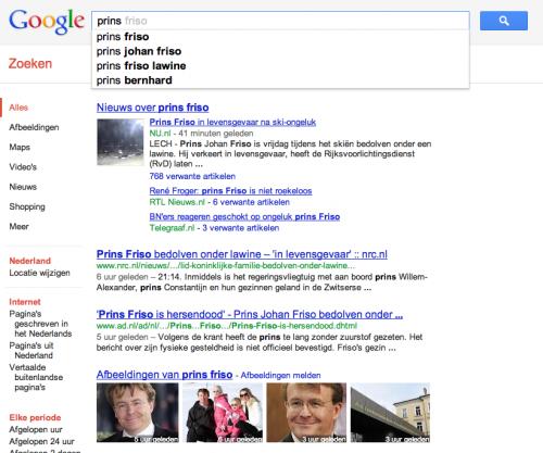 Zoekresultaten Google Zoeken 'prins friso' met actuele afbeeldingen