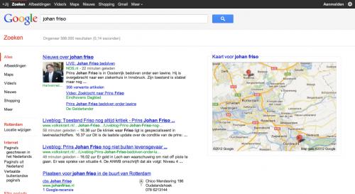 Zoekresultaten Google Zoeken 'johan friso' 16:55