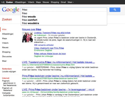 Google Suggesties bij zoekopdracht 'friso' niet actueel