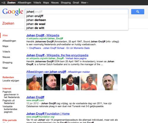 Google Suggesties + Instant zoekresultaten 'johan' 16:58u