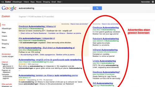 Google.nl zoekresultaten autoverzekering met AdWords advertenties aan zijkant bovenaan