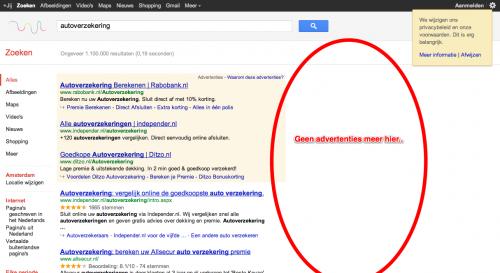 Google.nl zoekresultaten autoverzekering zonder AdWords advertenties aan zijkant bovenaan