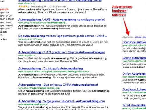 Google.nl zoekresultaten AdWords advertenties zijkant omlaag (autoverzekering) 2