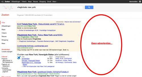 Google.nl zoekresultaten zonder AdWords advertenties zijkant bovenaan