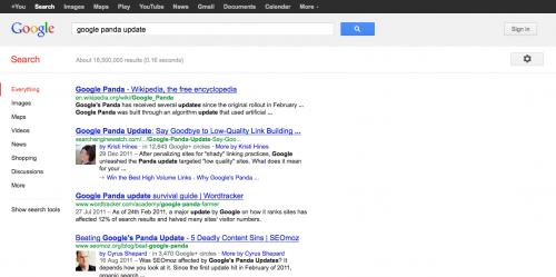 Google.com zoekresultaten 'google panda update'