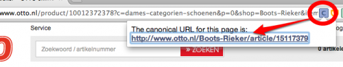SEO Chrome extensie - Canonical tag indicator voorbeeld