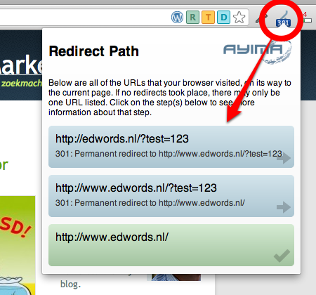 SEO Chrome extensie - Redirect path voorbeeld