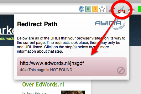 SEO Chrome extensie - Redirect path voorbeeld 404