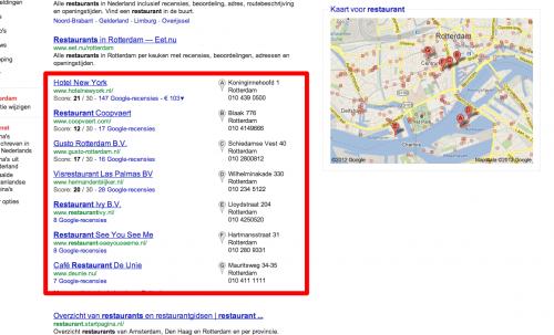 Afbeelding 1: voorbeeld van 'Local Universal' zoekresultaten