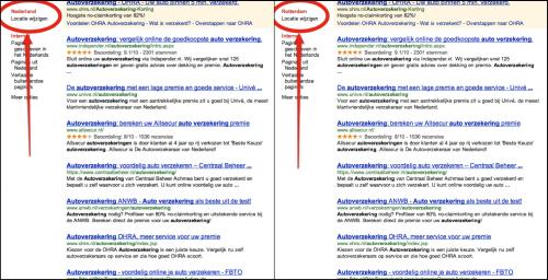 Afbeelding 9: voorbeeld zoekopdracht zonder lokale intentie