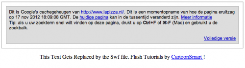 Afbeelding 12: Google cache laat zien dat de tekst in Flash niet indexeerbaar is