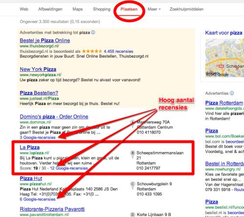 Afbeelding 13: voorbeeld Google Maps ranking