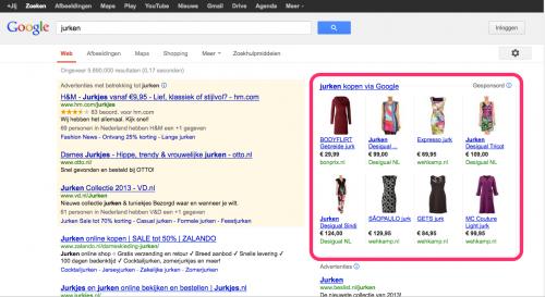 Google Shopping voorbeeld 'jurken' nieuwe zoekresultaten